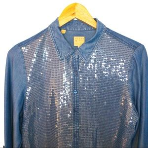GUESS Women Size S Shirt Chambray Sequin Front